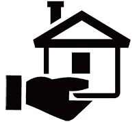 Icon of hand holding a home