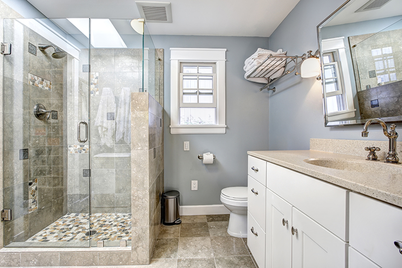 remodeled bathroom seen while preforming home inspection services