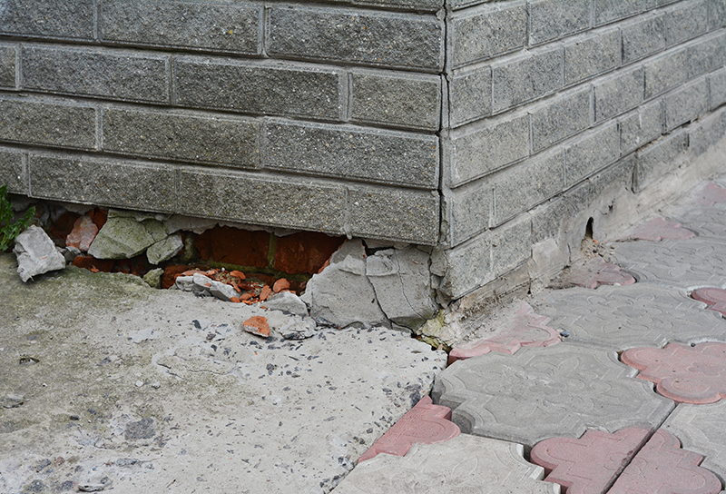 Poorly constructed foundation of a house